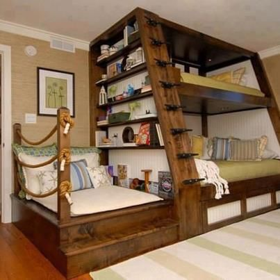 Nautical Themed Bunk Bed With Sofa And Bookshelf What A Great Use Of Space Home Cool Bunk Beds Bunk Bed Designs