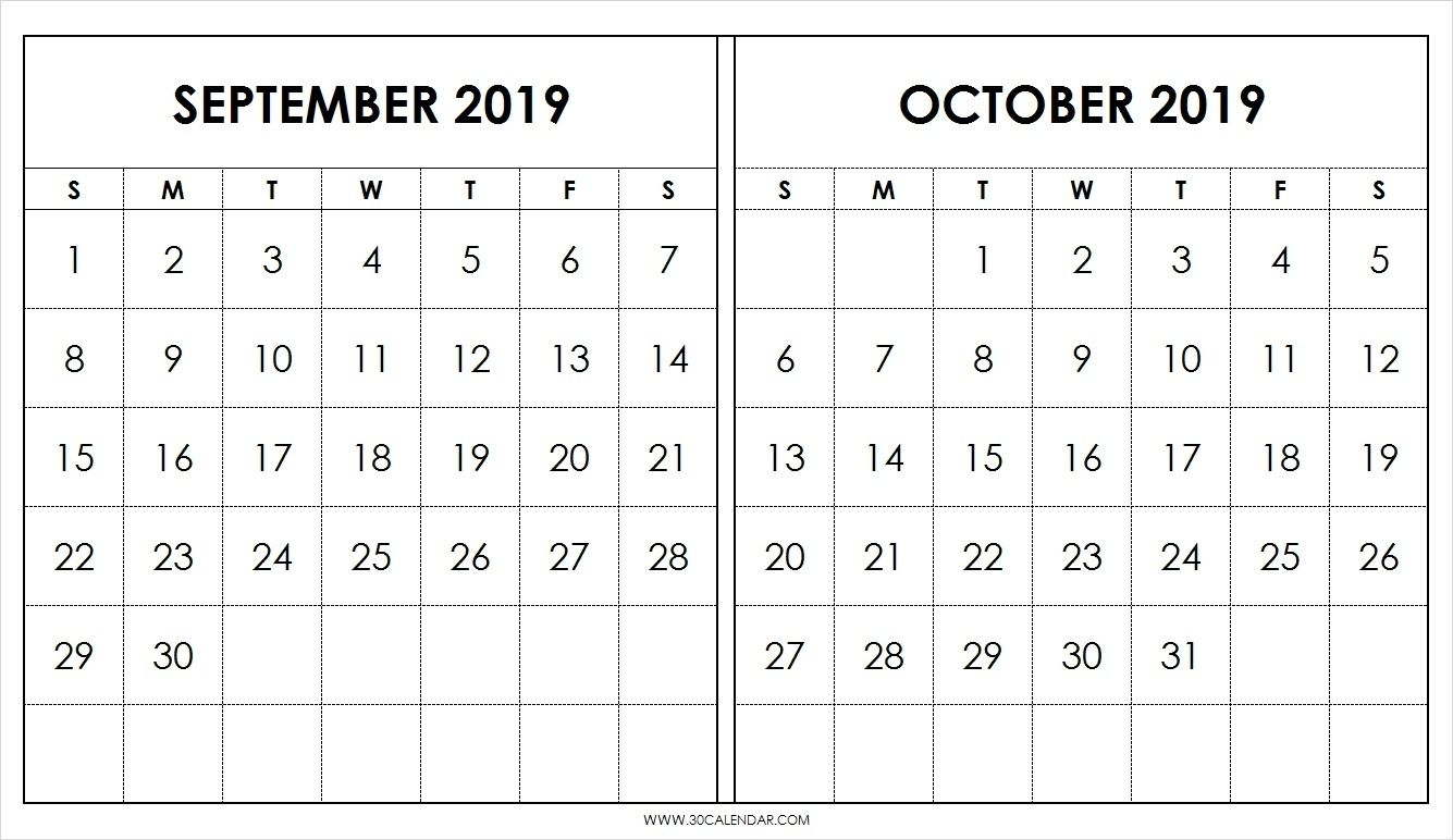 Blank September October Calendar 2019 Template 2 Month Calendar