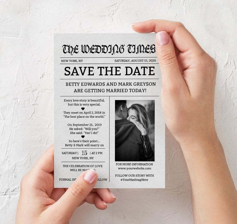 Newspaper Save The Date Template Photo Save The Date Etsy In 2021 Save The Date Save The Date Templates Newspaper Template