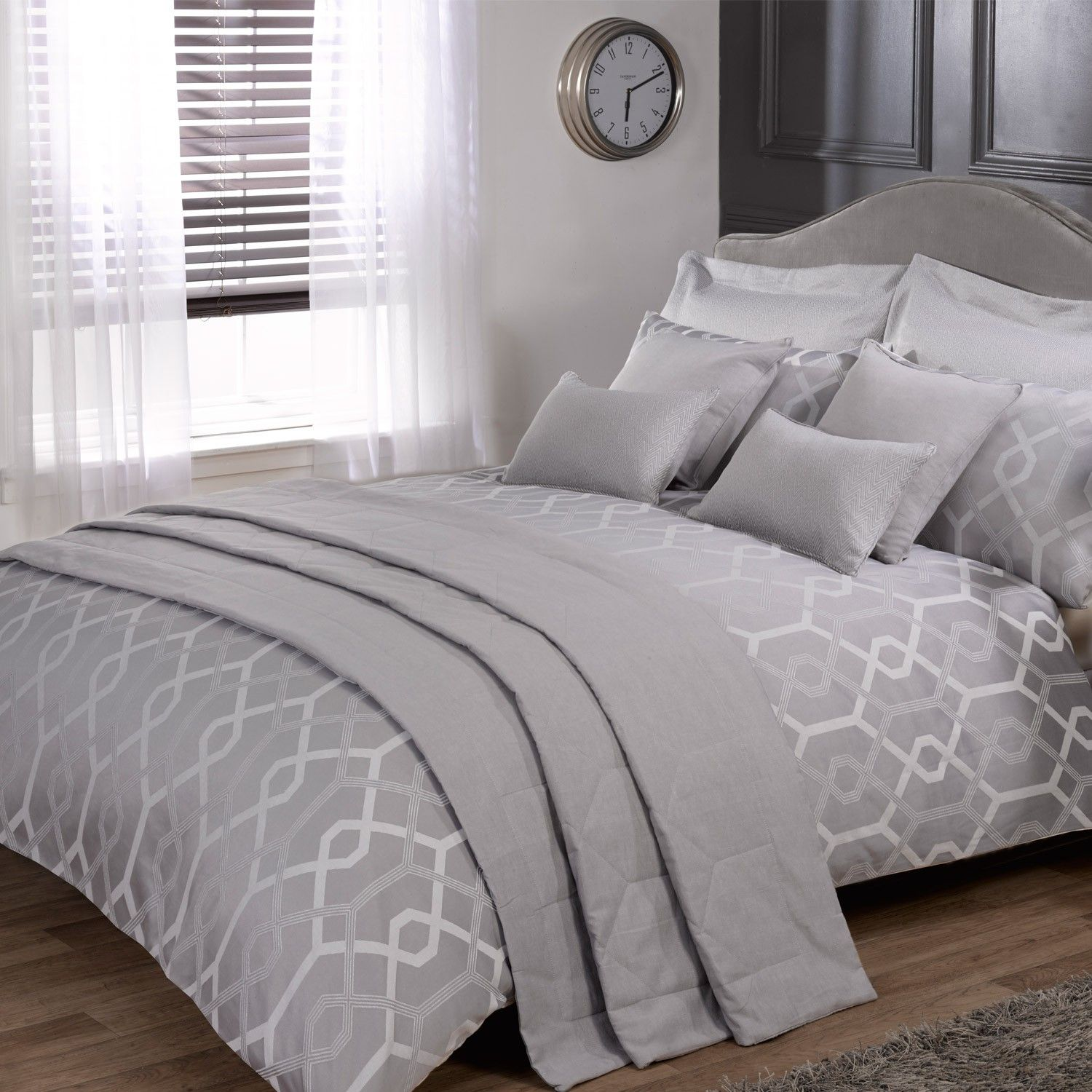 Harrison Silver Luxury Jacquard Duvet Cover Julian