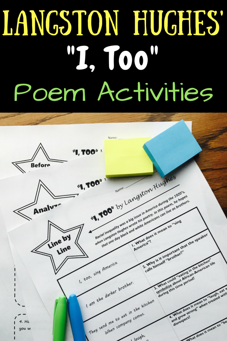 I Too By Langston Hughes Poem Activities My English Resources