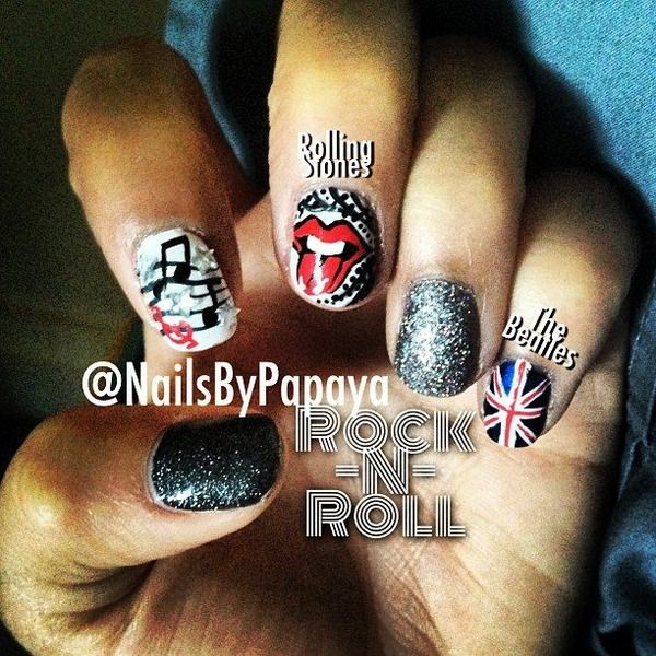 Rock-N-Roll Nails | Beauty By Papaya | Pinterest | Rock