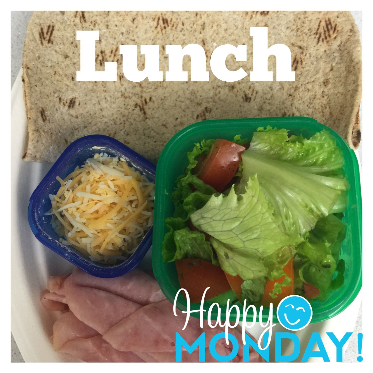 Lunch - Flat Out Tortilla, Dijon mustard, sliced ham, salad, shredded cheese - no calorie counting - used portion control containers!  Find me on Facebook - Michelle.Tull.79