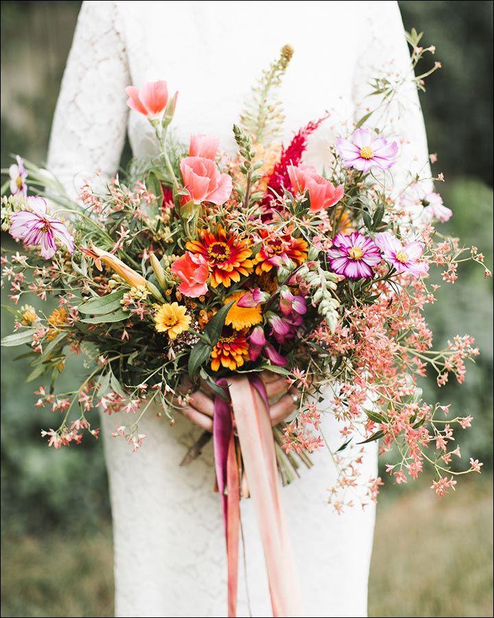 Pink And Purple Wildflower Bouquet Wildflower Wedding Bouquet