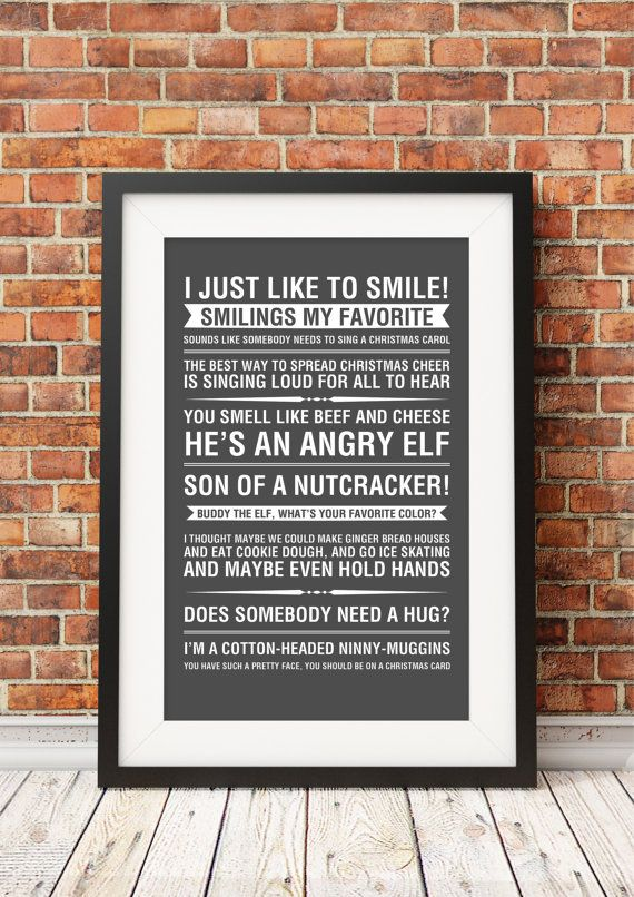 Elf Movie Quotes Jpeg/PDF A4 Letter 8x10 INSTANT Etsy