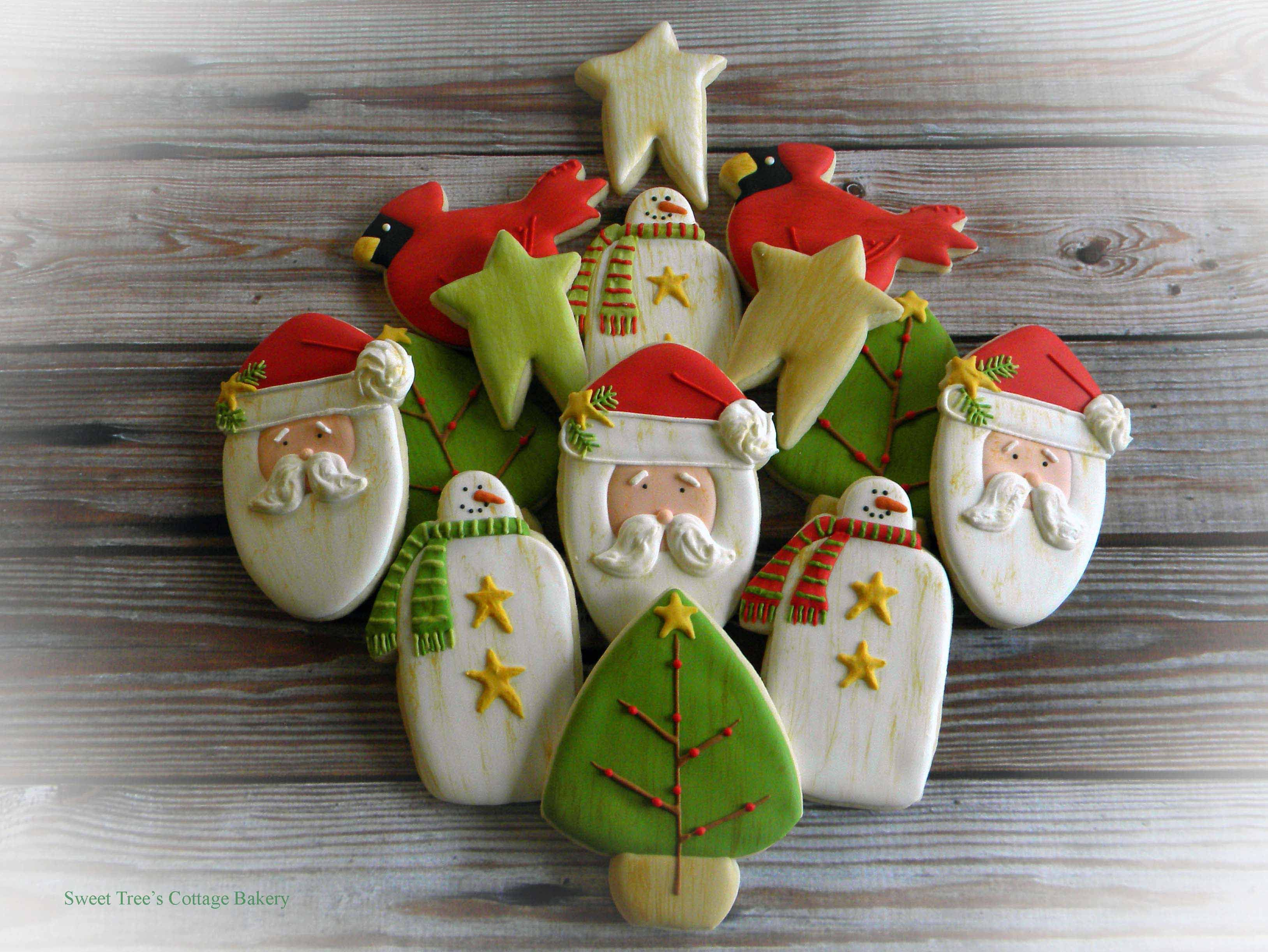 Primitive Antiqued Christmas cookies
