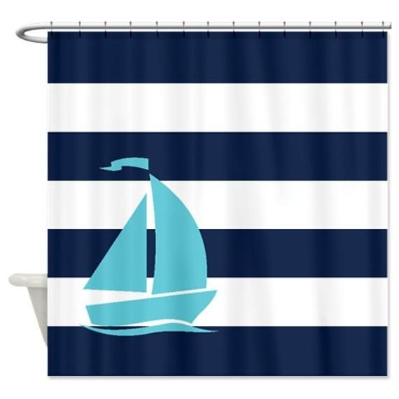 Nautical Shower Curtain Navy Blue And White Stripes Aqua Sailboat