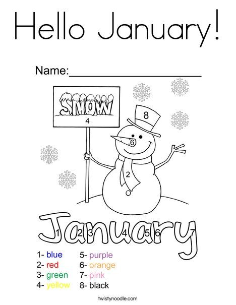 Hello January Coloring Page Twisty Noodle New Year Coloring