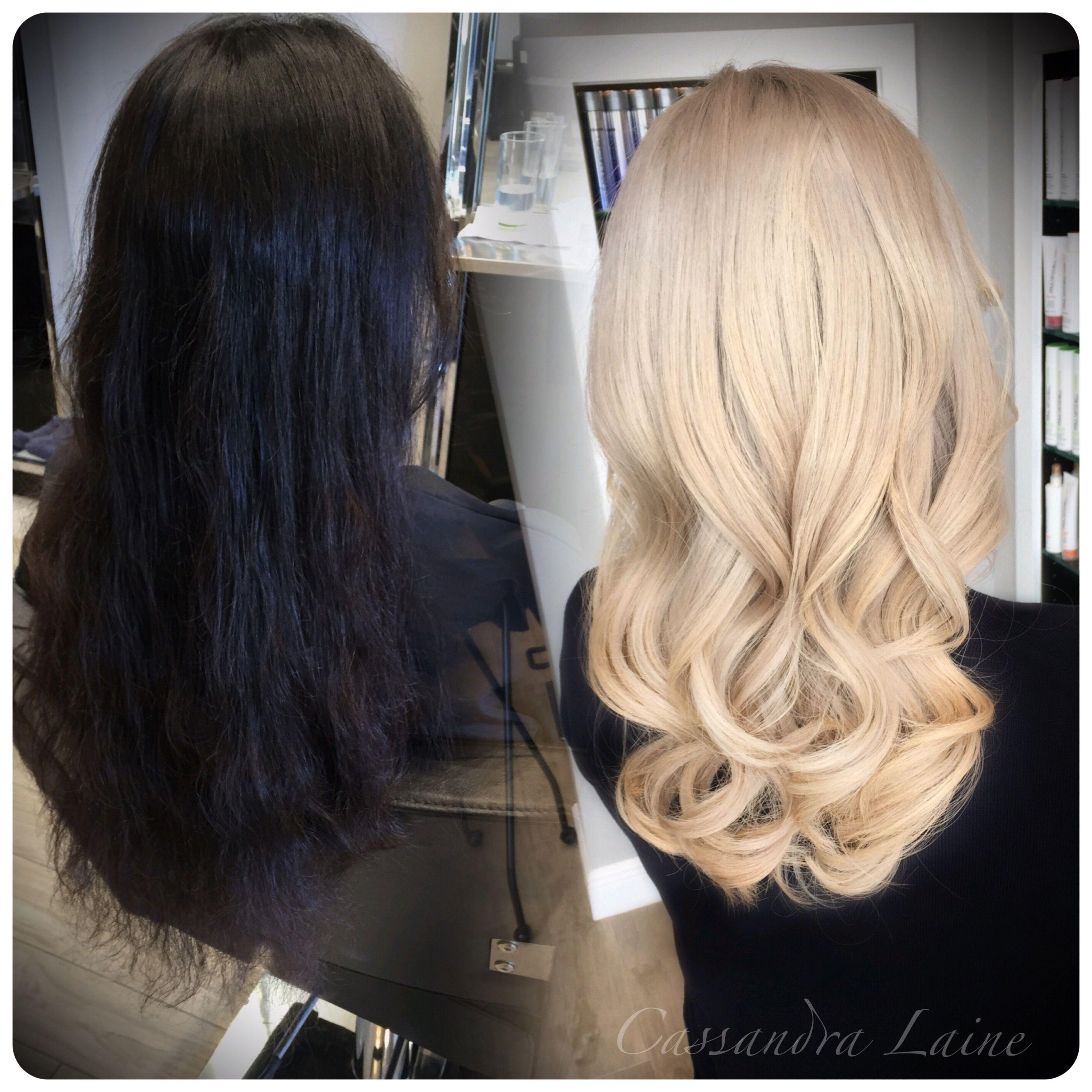 Dramatic Transformation Jet Black To Platinum In One Day Bleaching Black Hair Dark To Light Hair Black To Blonde Hair