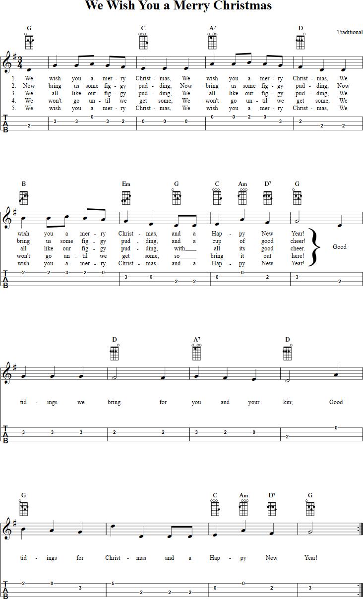 We wish you a merry christmas ukulele tab ukulele pinterest free ukulele sheet music for we wish you a merry christmas with chord diagrams lyrics and tablature hexwebz Choice Image