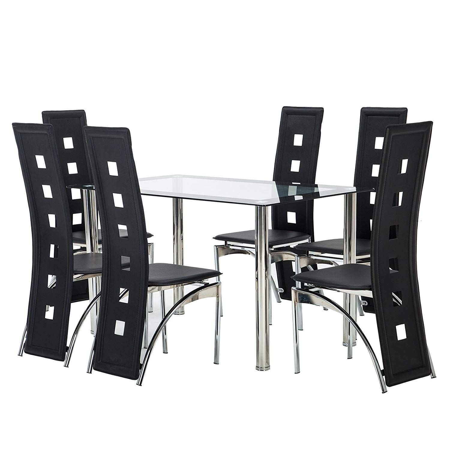Mecor Dining Set Glass Top Table With 6 Leather Chairs Kitchen