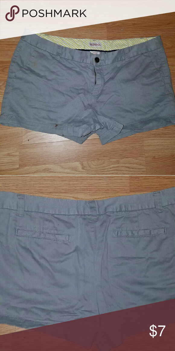 Fun grey khaki shorts Size 14 they are on smaller side of 14 waist wise would fit a size 12. Very cute shorts. Their is a small stain on lower left leg as seen in pic. Not very noticeable when wearing. But reflected in price! Merona Shorts
