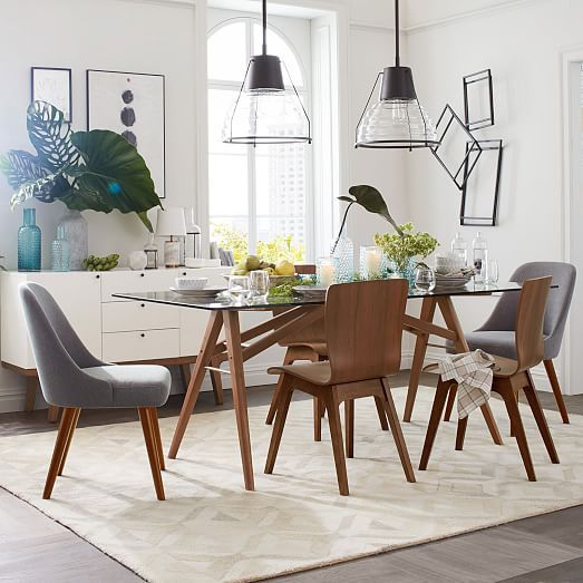 Mid Century Upholstered Dining Chair Wooden Legs In 2020 Mid