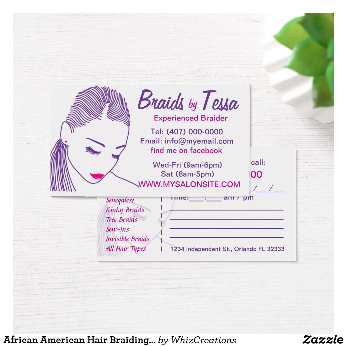 African American Hair Braiding Salon Business Card Zazzle Com African American Braided Hairstyles Salon Business Cards African American Hairstyles