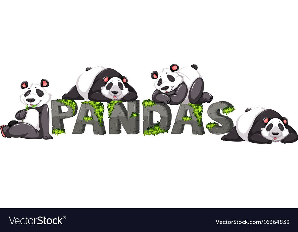 Four Pandas By The Zoo Sign Vector Image On Vectorstock Panda Images Vector Free Panda