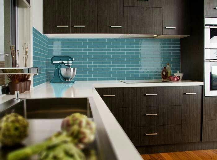 Turquoise Subway Tile Light Benchtop Dark Cupboards Tiles Splashback Turquoise Backsplash Kitchen Dark Cabinets Modern Kitchen Design Kitchen Design
