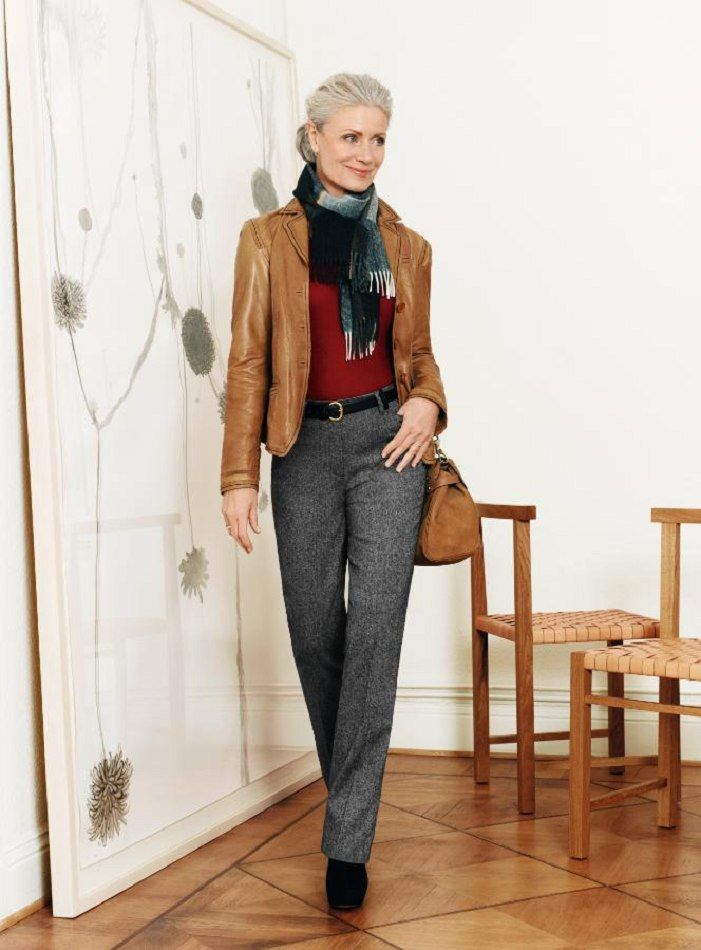 Remodel 40 Year Living Room With Fireplace: Leather Blazer, Red Sweater, Scarf And Tweed Pants- For