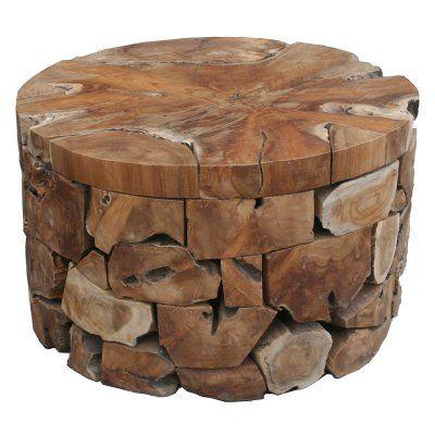 Chic Teak Teak Wood Round Akara Indoor / Outdoor Coffee ...