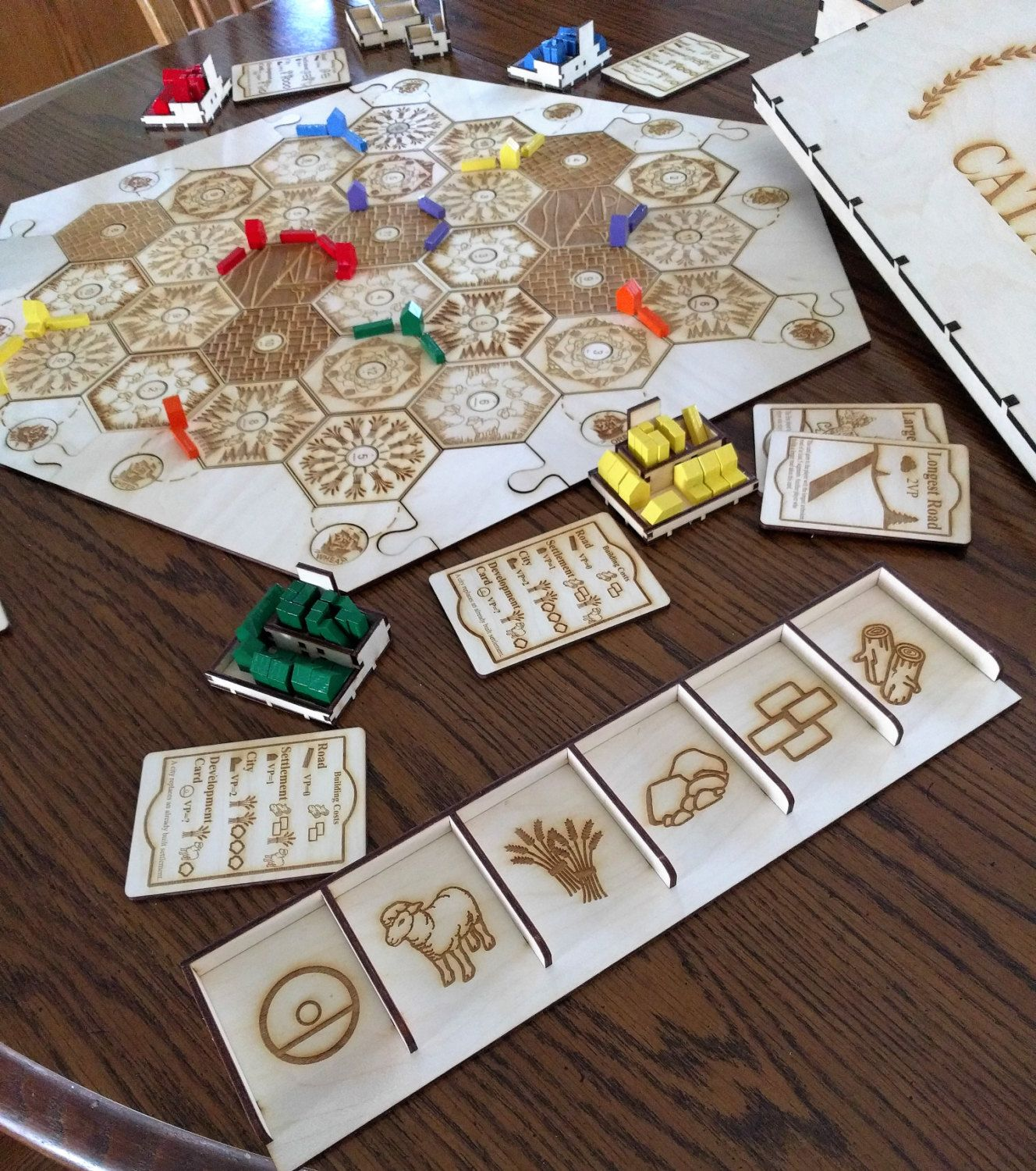 Custom Wood Game Board & 56 Player Expansion With Wooden
