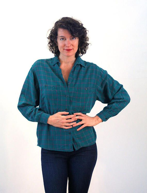 Plaid Blouse Long Sleeve M Vintage Women/'s 80/'s Gap Top