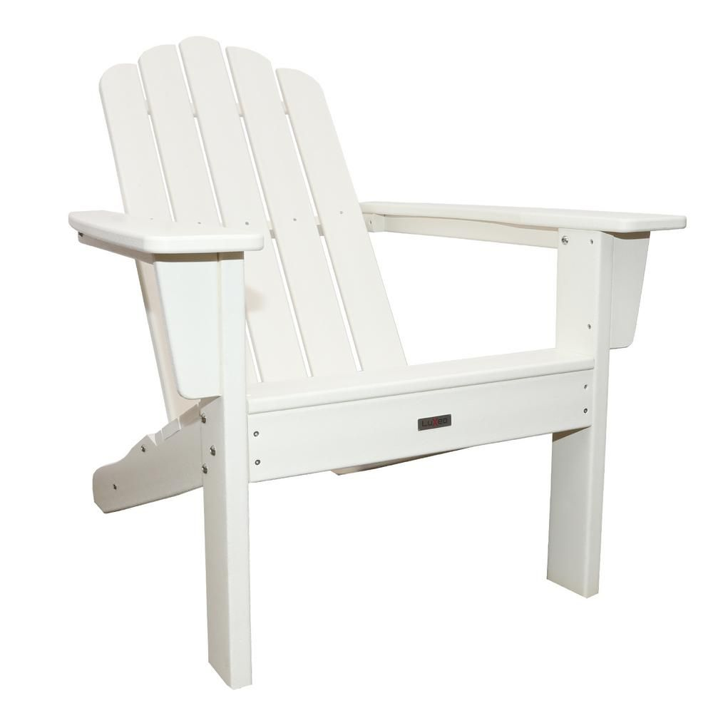 Luxeo Marina White Plastic Outdoor Patio Adirondack Chair Lux 1519