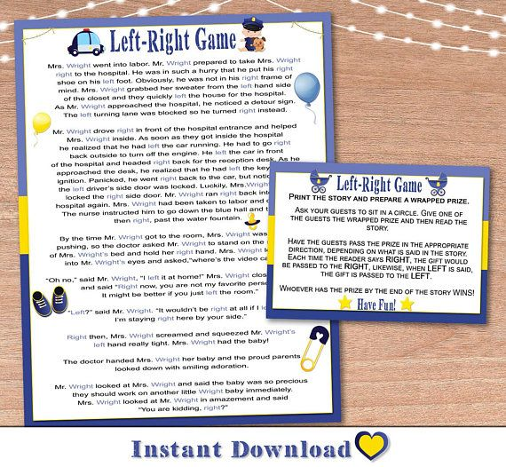 Baby Shower Game Printable Left Right Game Instant Print Baby