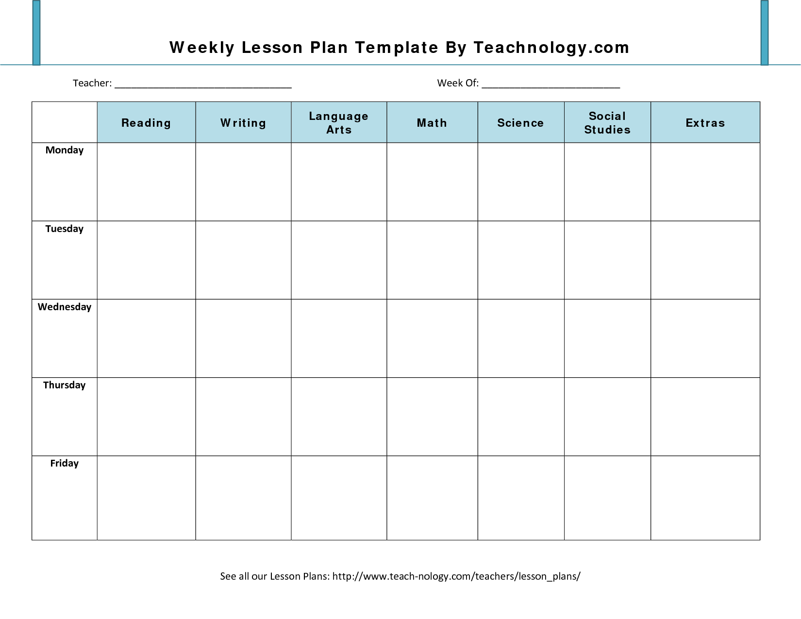 Lesson Plan Format  Weekly Lesson Plan Template For Teachers