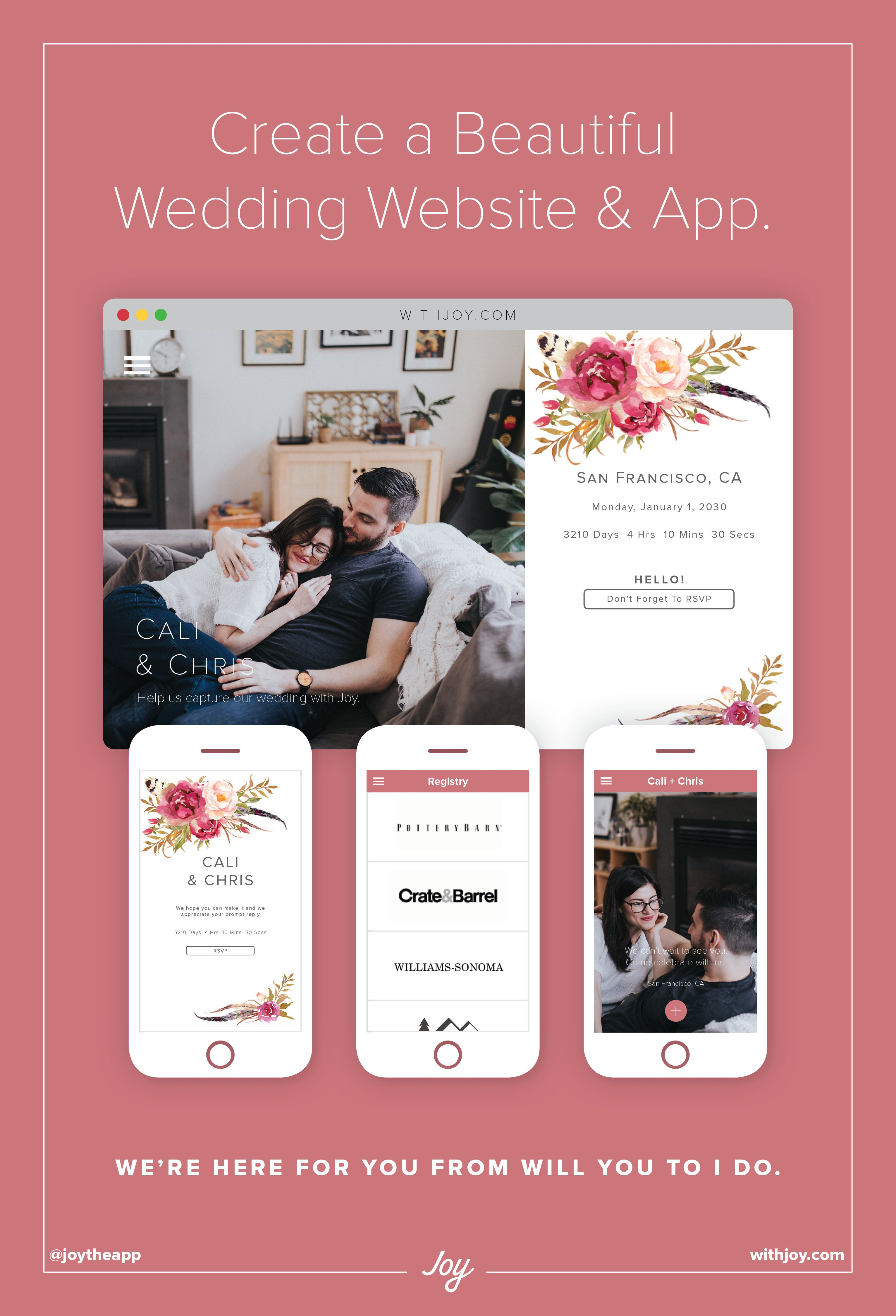 Create A Free Beautiful Wedding Website And Withjoy