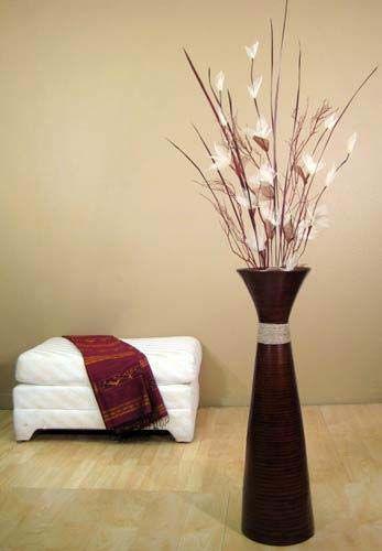 36 Fluted Bamboo Floor Vase Brown