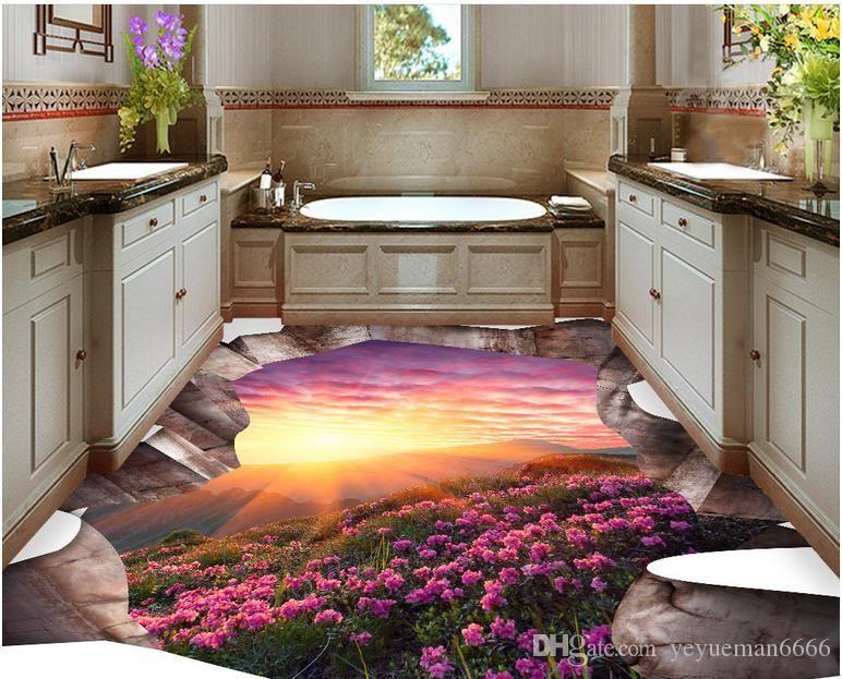 Self Adhesive Floor Mural Photo Wallpaper 3D Seawater Wave