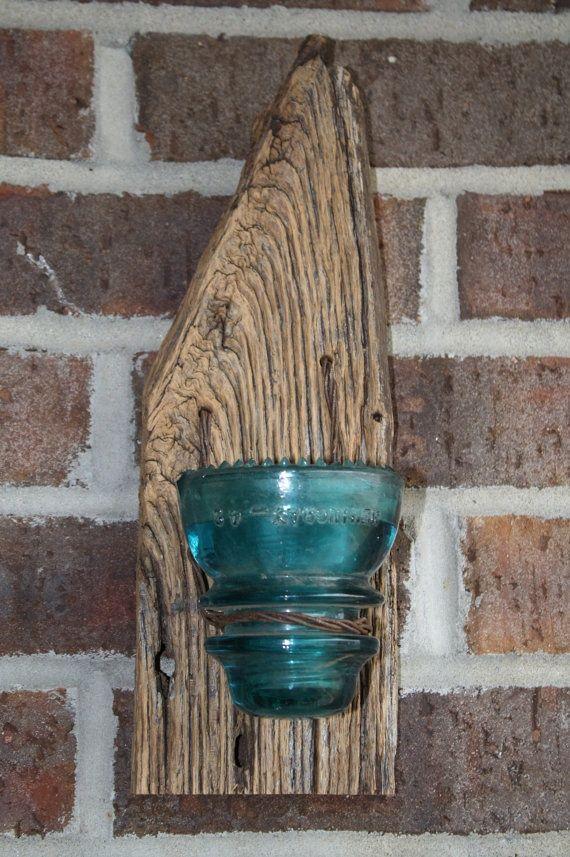 Barnwood Crafts Barnwood Insulator Candle Holder