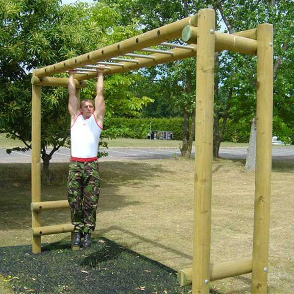 Timber fitness trails trim overhead ladder