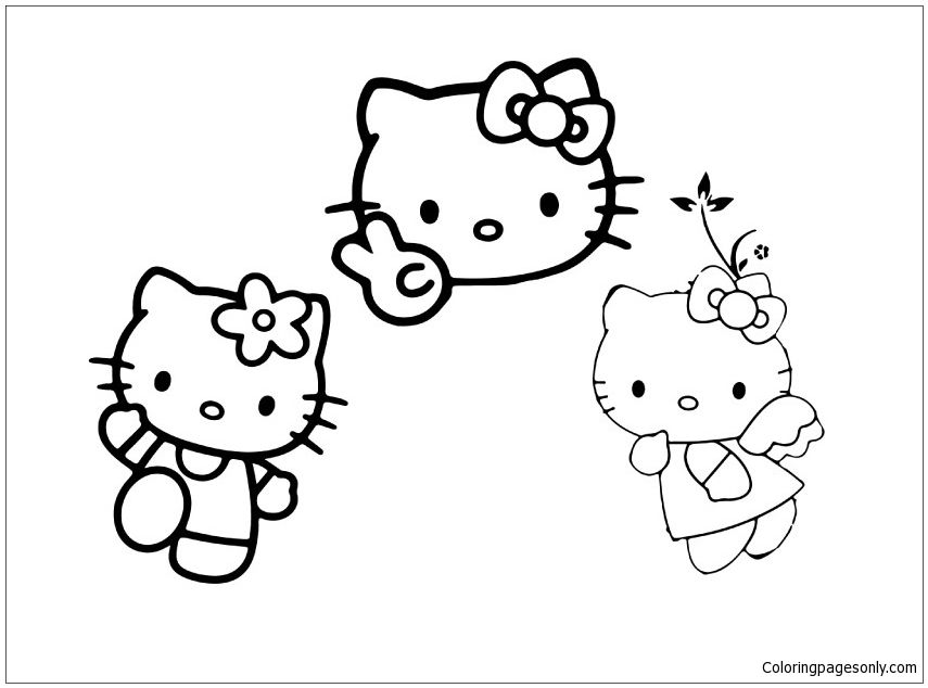 Hello And Two Friends Coloring Page Hello Kitty Coloring Coloring Pages Free Coloring Pages
