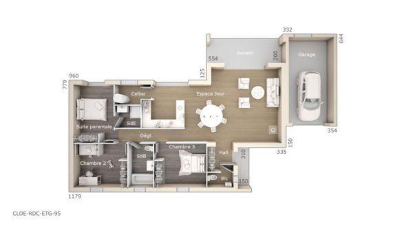 Maison Cloé 95 Design Toit 4 pentes étage - Les Maisons de Manon - plan maison 110m2 etage