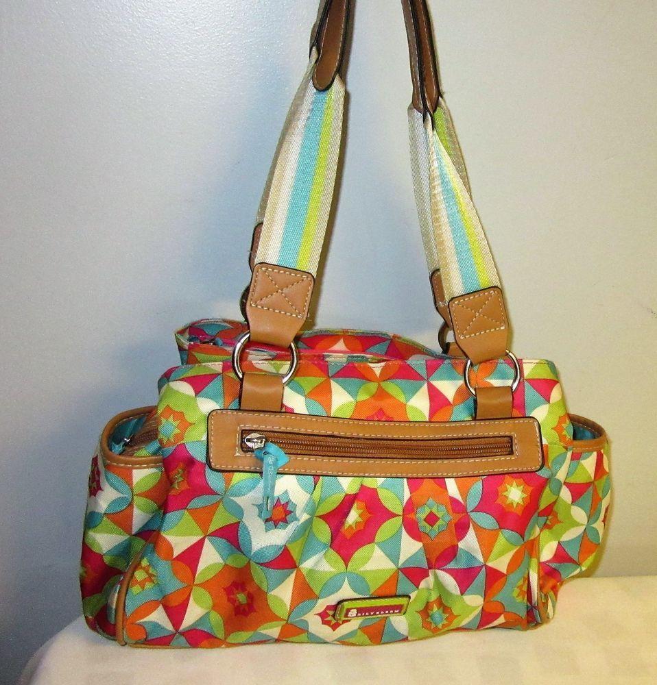 d0cd675cb36a LILY BLOOM Muli Color Geometric Design handbag purse lined canvas bright  colors  LilyBloom  TotesShoppers