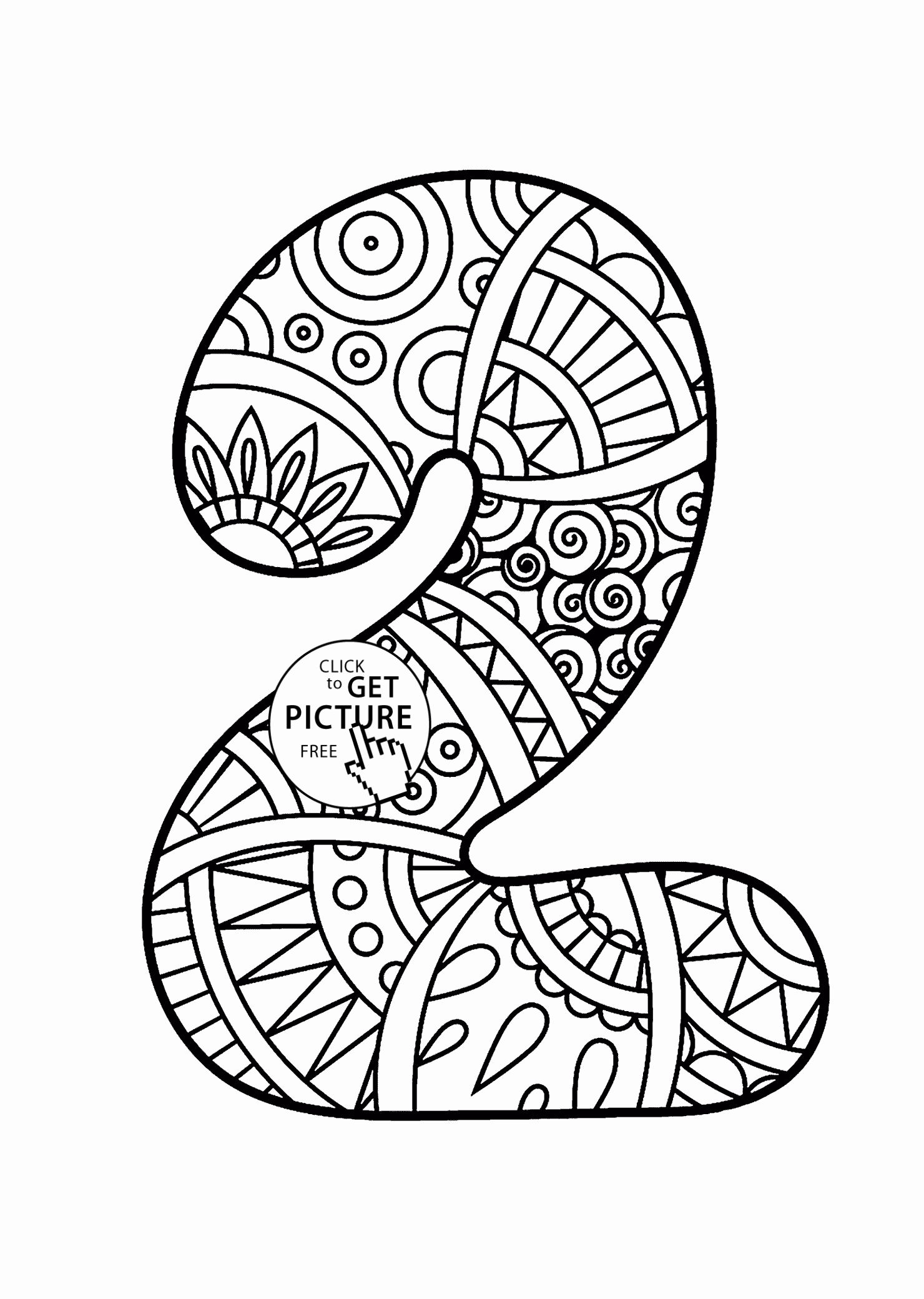 Number Two Coloring Sheet Lovely Pattern Number 2 Coloring Pages For Kids Counting Numbers In 2020