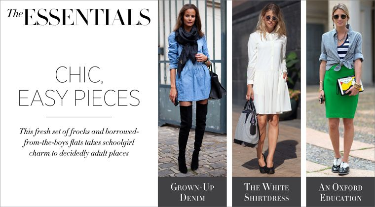 What's essential for spring? Flirty dresses and boyish flats.