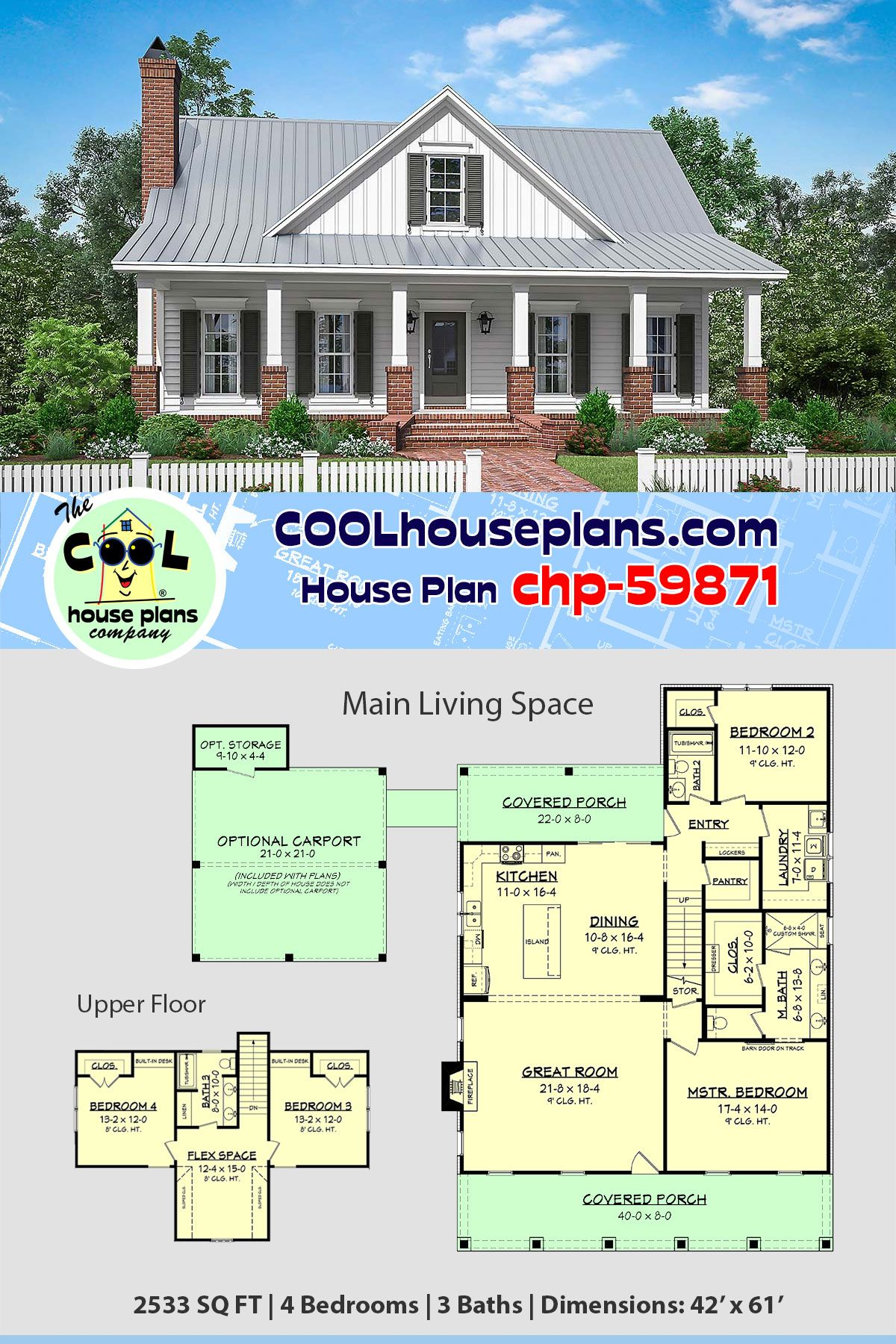 Traditional Style House Plan 51994 With 4 Bed 3 Bath 2 Car Garage Country Floor Plans House Plans Farmhouse House Plans