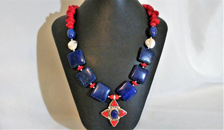 lapiz lazuli red coral boho necklace