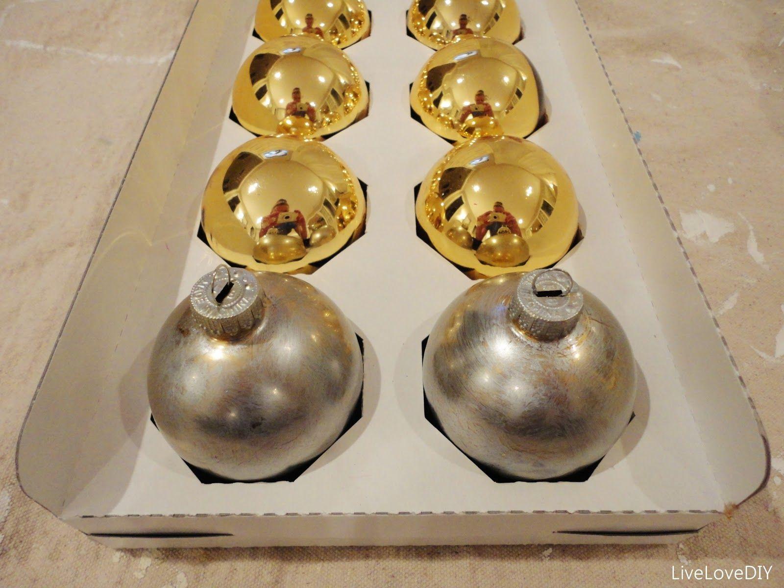 Livelovediy: Diy Christmas Ornaments Ideas Transform Gold Balls Using  Silver Leaf Rub 'n