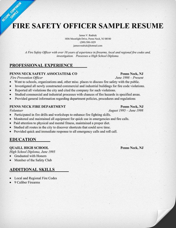 Fire Safety Officer Resume Sample (http\/\/resumecompanion - security guard resume objective