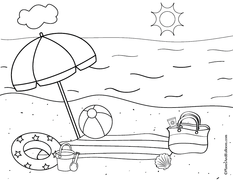 Fun free printable beach coloring page and summer