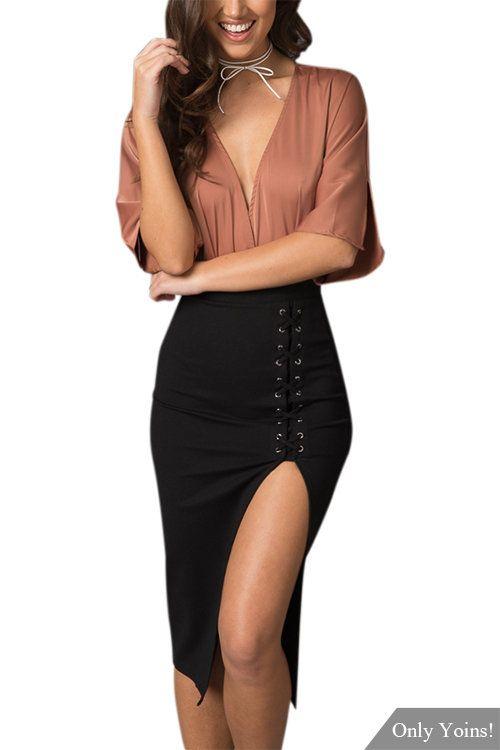 Black Split High-waisted Midi Skirt  -YOINS