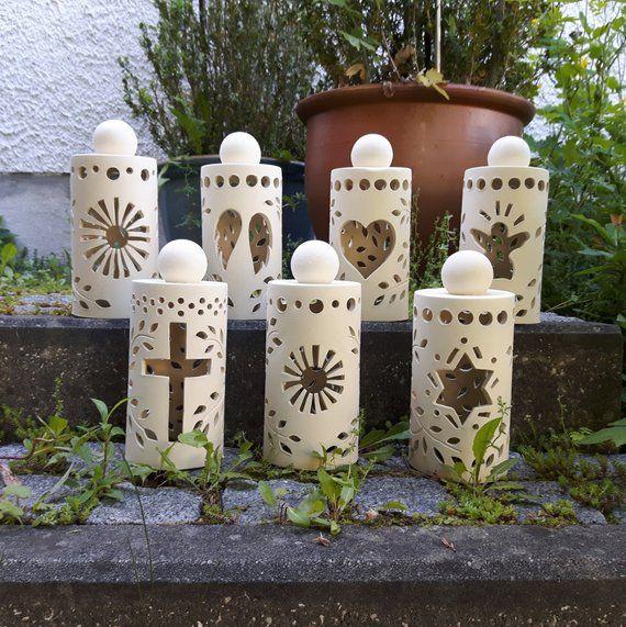 Grablicht mit Kreuz aus Keramik