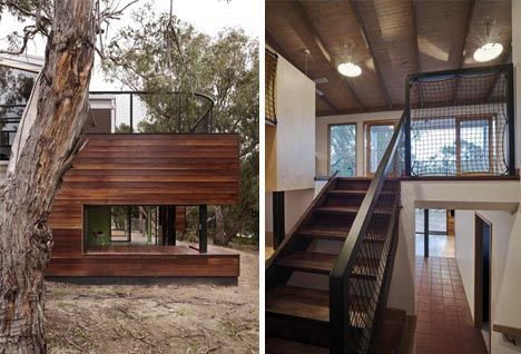modern remodel addition design and continue horizontal natural wood onto entry porch siding