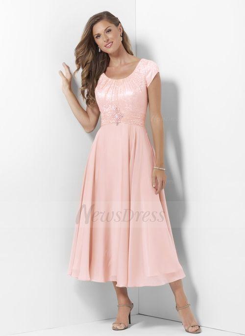 Pearl Pink Tea Length Dresses