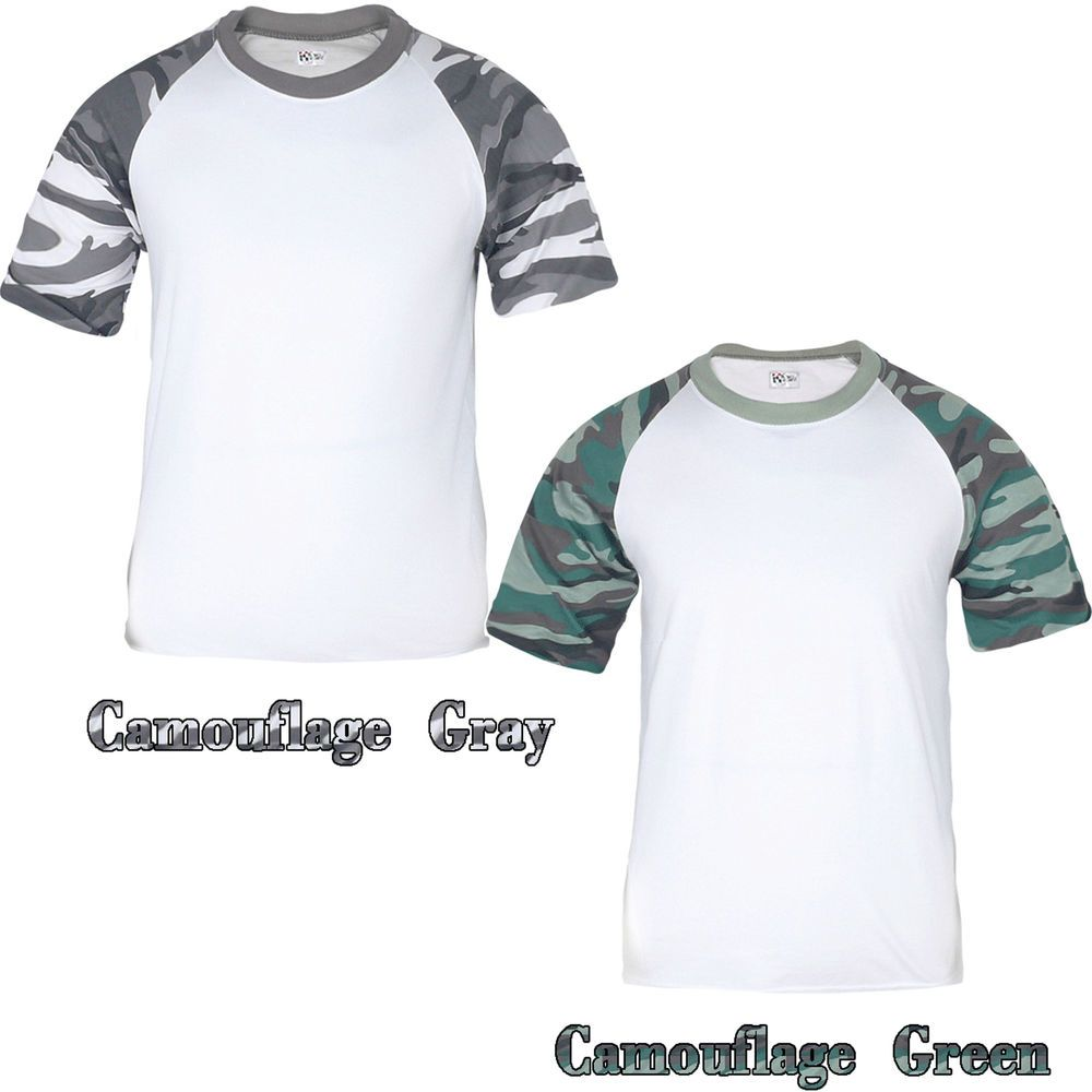 Pro tag 100 cotton 3 4 sleeve raglan baseball shirt in white black - New Mens Short Sleeve Camouflage Baseball Raglan T Shirt Crew Neck Sport Team