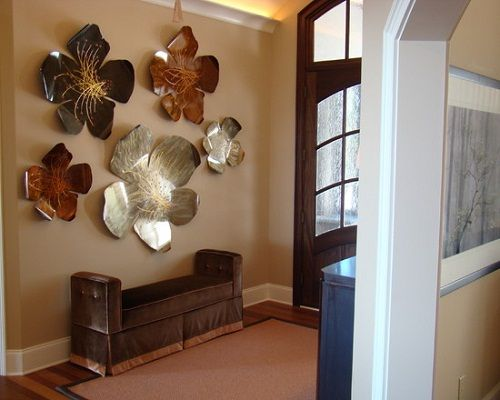 excellent modern entry with beautiful art deco interior design ideas also artistic wall ornament with flower theme also modern long sofa without back also - Metal Wall Designs