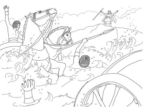 Pharaoh S Army Got Drowned Coloring Page Bible Coloring Pages