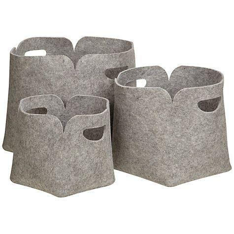 Buy john lewis felt storage boxes set of 3 online at johnlewis com